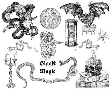 Black magic tattoo, sticker set. Occult, horror, ritual, witchcraft, heavy metal music, gothic engraving style symbols collection: skulls, candles, flames, snakes, bat, full moon, heart, hourglass.