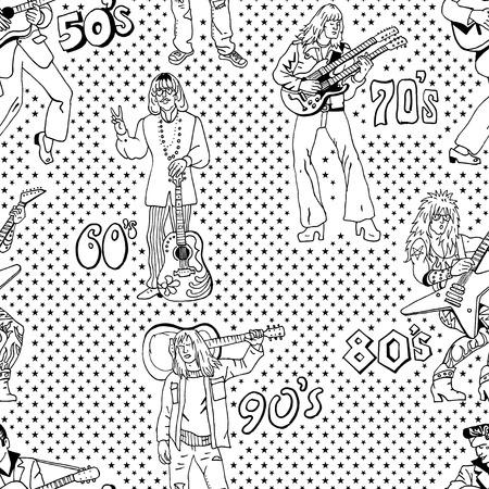Rock stars retro comic style seamless pattern in black and white. Popular 20th century rock music genres : 50s rocknroll, 60s hippie, 70s progressive rock, 80s glam metal, 90s grunge.