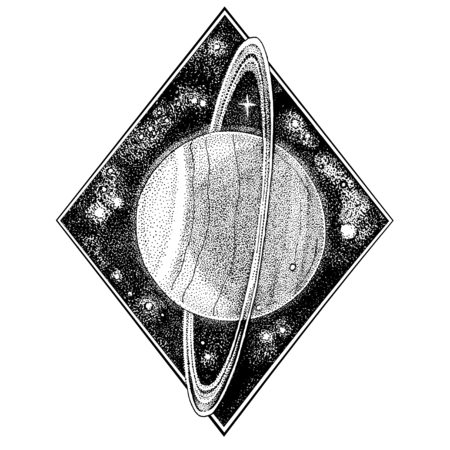 Uranus planet. Hand drawn illustration in dotwork style. Space concept, astrology symbol, astronomy t shirt print, cosmic design.