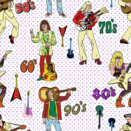 Rock stars and guitars retro comic style seamless pattern. Popular 20th century rock music genres : 50s rocknroll, 60s hippie, 70s progressive rock, 80s glam metal, 90s grunge.
