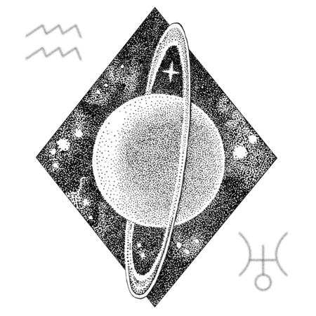 Uranus planet. Hand drawn illustration in dotwork style with Uranuss astrological symbol and a symbol of Aquarius zodiac sign. Space concept, astrology, astronomy t shirt print