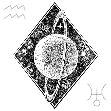 Uranus planet . Hand drawn vector illustration in dotwork style with astrological symbol and a symbol of Aquarius zodiac sign. Space concept, astrology, astronomy t shirt print, cosmic design. Stock fotó