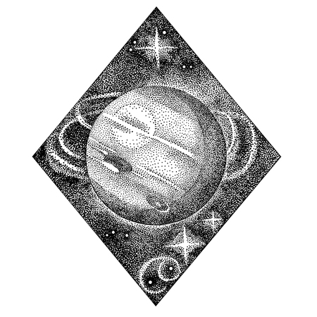 Neptune. Hand drawn illustration in dotwork style. Space concept, astrology, vintage astronomy t shirt print, cosmic design.