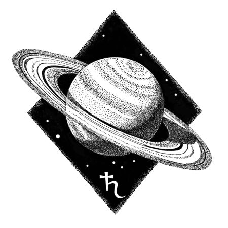 Saturn planet. Hand drawn ink pen illustration in dotwork style. Space concept, astrology, astronomy t shirt print, cosmic logo design. Astrological ruler over capricorn zodiac sign.