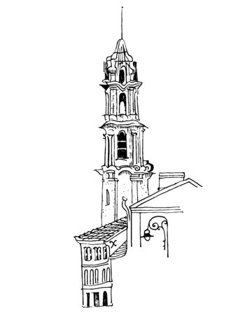 Old town motif. Bell tower, medieval houses, street lantern. Vilnius, Lithuania. Baltic states landmark. Postcard, coloring page. Hand drawn sketchy style ink pen illustration.