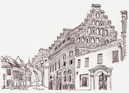 Acogedora calle del casco antiguo de Kaunas. Arquitectura histórica, casas medievales, catedral. Hito de los estados bálticos. Postal, página para colorear. Dibujado a mano ilustración de pluma de tinta de estilo incompleto. Foto de archivo