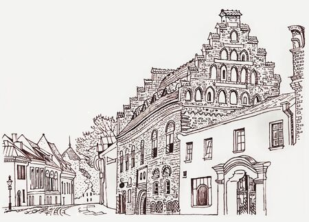 Cozy street of Kaunas Old Town. Historical architecture, medieval houses, cathedral. Baltic states landmark. Postcard, coloring page. Hand drawn sketchy style ink pen illustration. Stock fotó