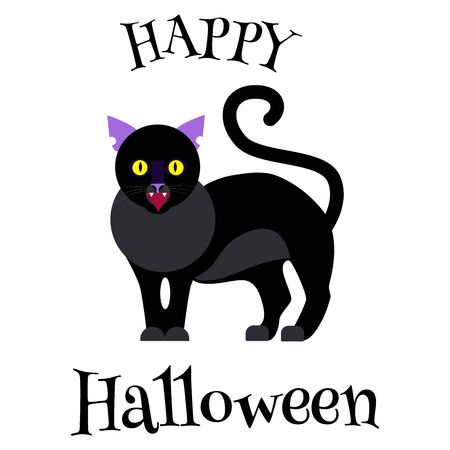 Halloween greeting card with a cute devilish black cat and inscription. Funny minimalistic flat vector style illustration. Party invitation, sticker, gothic symbol, seasonal motif. Illusztráció