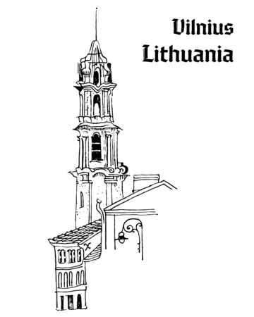 Old town motif. Vilnius, Lithuania. Bell tower, medieval houses, street lantern. Baltic states landmark. Postcard, coloring page. Hand drawn sketchy style ink pen illustration with inscription.