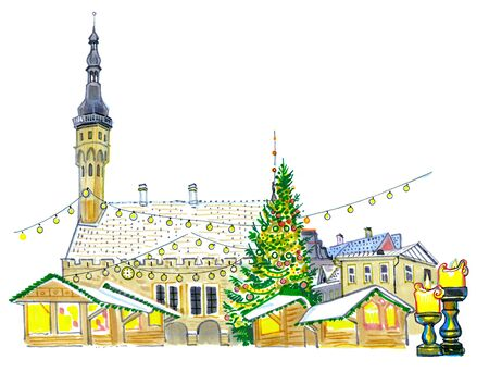 Christmas Market at the Town Hall square in Tallinn, Estonia. New Year tree, holiday illumination, candles, snow on the roofs. Hand-drawn sketchy style illustration. Postcard, greeting card, tourism. Stockfoto