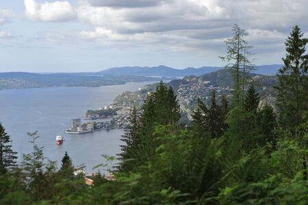 View of Bergen through the trees from Mount Floyen in summer. Clouds, fjord, mountains, cityscape, yachts and ships. Hordaland, Norway.