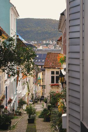 Cozy narrow street in Bergen, Norway. Stock fotó