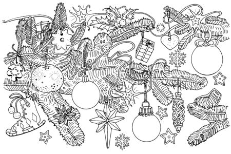 Fir tree branches and Christmas decorations, balls, cookies, fruits, snowflakes, stars. Doodle style outline illustration. Greeting card, scrapbooking, New year holiday invitation, coloring book page. Çizim