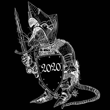 Rat in medieval knight armor with a shield. Symbol of New Year 2020 - year of a white iron rat. Hand drawn illustration for greeting card, invitation, posters, banners, logo, calendar. White on black. Çizim