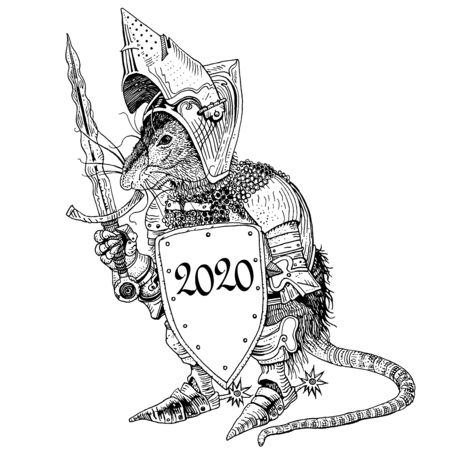 Rat in medieval knight armor with a shield. Symbol of New Year 2020 - year of an iron rat. Hand drawn illustration for greeting card, invitation, posters, banners, logo, calendar. Chinese zodiac sign.
