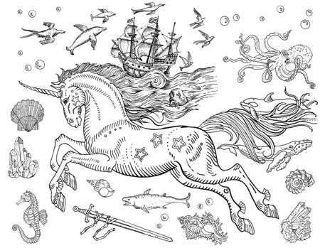 Magic sea unicorn, old ship, whales, dolphins, fish, octopus, shell, drowned sword, crystals, stars, sea horse, water bubbles. Hand drawn vintage style line art, coloring book page, postcard, tattoo.
