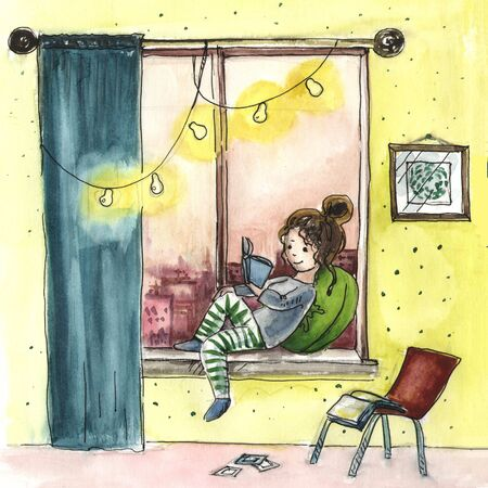 Hand drawn illustration of a girl at home.