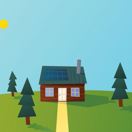 Cartoon Solar Powered Log Cabin