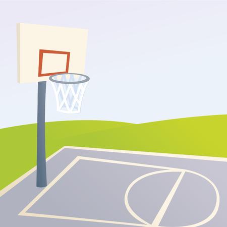 Cartoon Basketball Court Ilustrace