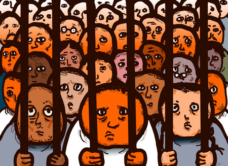 victim war: Original illustration drawing of convicted prisoners in a jail cell.