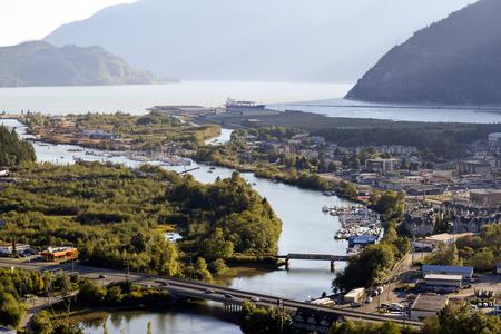 View of the Squamish River in Squamish, British Columbia, Canada.