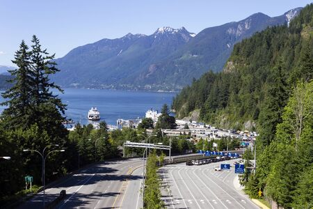 View of Horseshoe Bay ferry terminal located in Horseshoe Bay, West Vancouver, British Columbia, Canada. Stock Photo