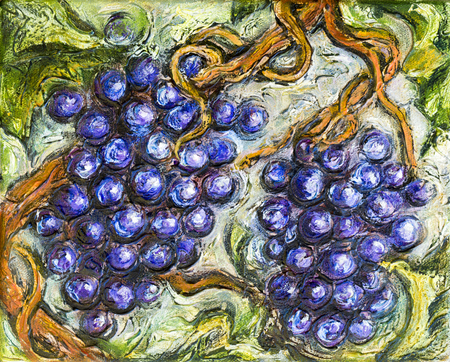 Painting of organic ripe red grapes in a vineyard.