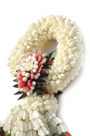 Thai treditional style garland flower in white background  photo