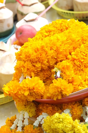 l natural: Thai treditional style garland flower at hindu shrine Stock Photo