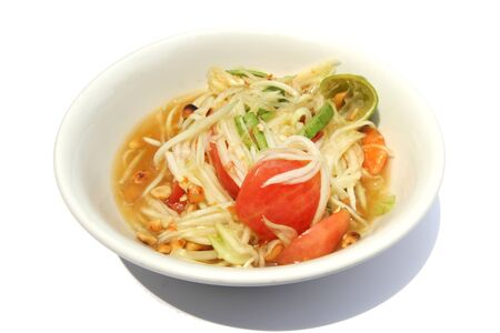 Somtum , Thai spicy papaya salad on a dish photo