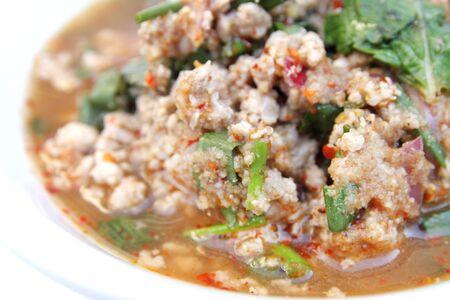 moo: laab moo , Thai-style Spicy Pork Salad Stock Photo