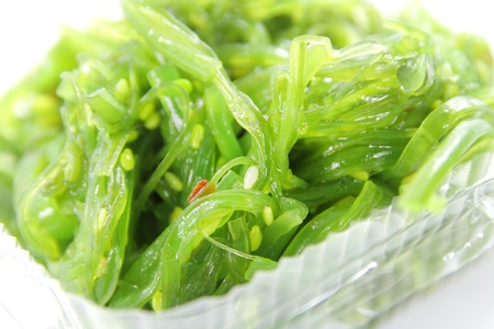 sea weed: Japanese sea weed salad on white background Stock Photo