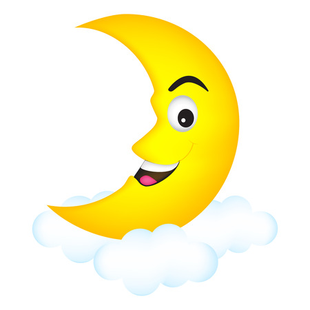 Cute cartoon illustration of a smiling happy moon crescent relaxing on clouds