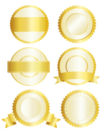 signatory: Collection of golden seal  badge isolated on white background