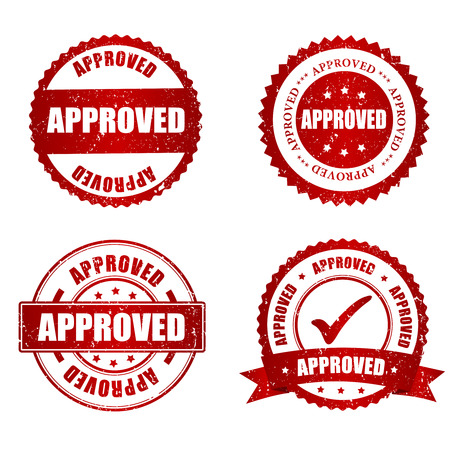 quality seal: Approved red grunge rubber stamp collection on white, vector illustration