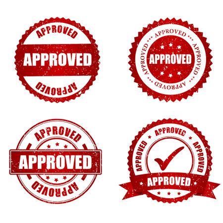 control de calidad: Aprobado grunge rojo la colecci�n de sellos de goma en blanco, ilustraci�n vectorial