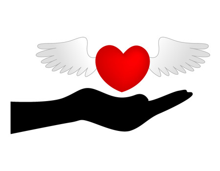 silhouetted: Wings on red love heart over the top of a silhouetted hand, isolated on a white background.