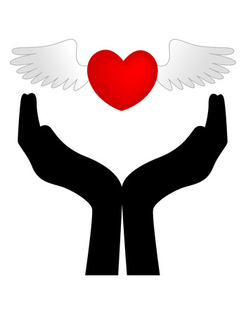 silhouetted: Wings on red love heart over the top of a silhouetted hands, isolated on a white background. Illustration