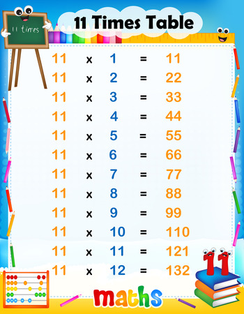 11 number: Illustration of a cute and colorful mathematical times table with answers. 11 times table