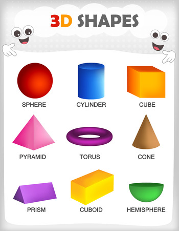 basic: Printable sheet of a collection of colorful 3D shapes with their correct name for kindergarten  preschool kids