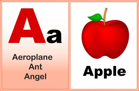 basic letters: Alphabet letter A with clip-art and few similar words starting with the letter printable graphic for preschool  kindergarten kids