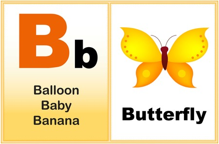 preschool: Alphabet letter B with clip-art and few similar words starting with the letter printable graphic for preschool  kindergarten kids