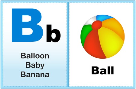 early learning: Alphabet letter B with clip-art and few similar words starting with the letter printable graphic for preschool  kindergarten kids