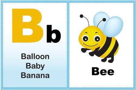 preescolar: Alfabeto letra B con el clip-arte y algunas palabras similares a partir de la gráfica imprimible carta para preescolares  niños de jardín de infantes