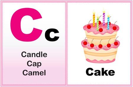 preescolar: Alfabeto letra C con clip-arte y algunas palabras similares a partir de la gráfica imprimible carta para preescolares  niños de jardín de infantes Vectores