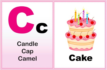 early learning: Alphabet letter C with clip-art and few similar words starting with the letter printable graphic for preschool  kindergarten kids Illustration