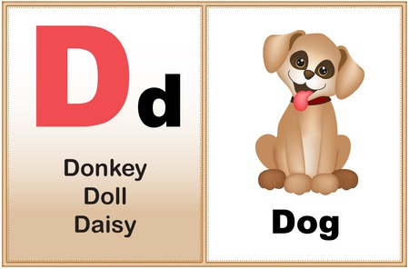early learning: Alphabet letter D with clip-art and few similar words starting with the letter printable graphic for preschool  kindergarten kids