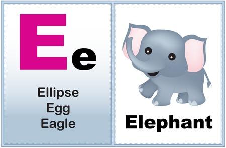 preescolar: Alfabeto letra E con el clip-arte y algunas palabras similares a partir de la gráfica de impresión carta para preescolares  niños de jardín de infantes