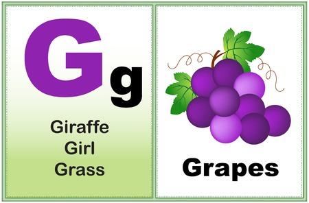 early learning: Alphabet letter G with clip-art and few similar words starting with the letter printable graphic for preschool  kindergarten kids