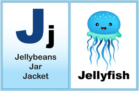book jacket: Alphabet letter J with clip-art and few similar words starting with the letter printable graphic for preschool  kindergarten kids Illustration
